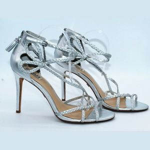 Badgley mischka silver braided leather heels.